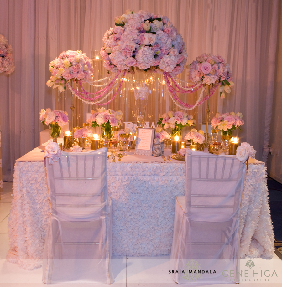 US Grant wedding Flowers by San Diego wedding florist Jennifer Cole and table design with Crown weddings